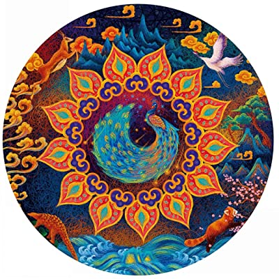 Bgraamiens Puzzle- Huaxia Creature-A Peacock in His Pride-1000 Pieces Jigsaw Puzzle Rich Color Challenge 1000 PCS Round Jigsaw Puzzles: Toys & Games