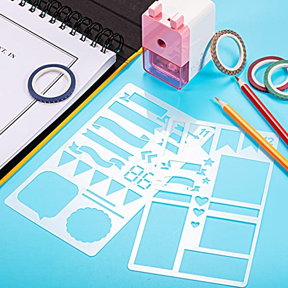 Honoson Kit de Materiales de Scrapbooking Herramientas de Álbum de Recortes Plantilla de Diario Washi Cinta Adhesiva Pluma de Planificador de Diario para Manualidades Dibujo (68 Piezas, Estilo B): Amazon.es: Juguetes y