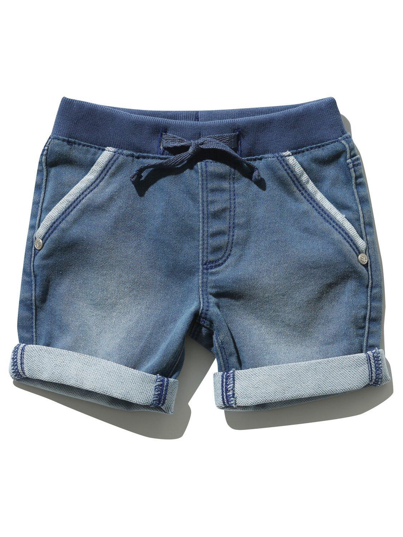 M&Co Baby Boy Blue Denim Mid-Wash Strech Waistband Pockets Loopback Denim Look Jersey Shorts