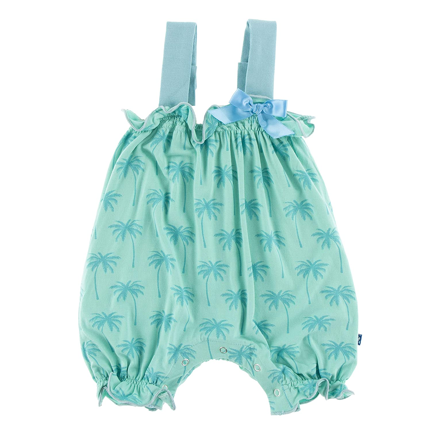 Kickee Pants Baby Girls Solid Gathered Romper with Contrast Bow Prd-kpgbr98-ldr