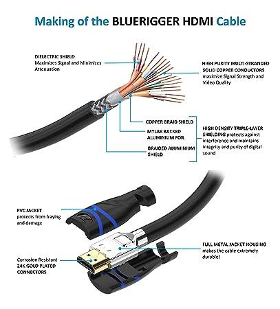 Cable HDMI de alta velocidad básico BlueRigger -2 m (6.6 pies): Amazon.es: Electrónica