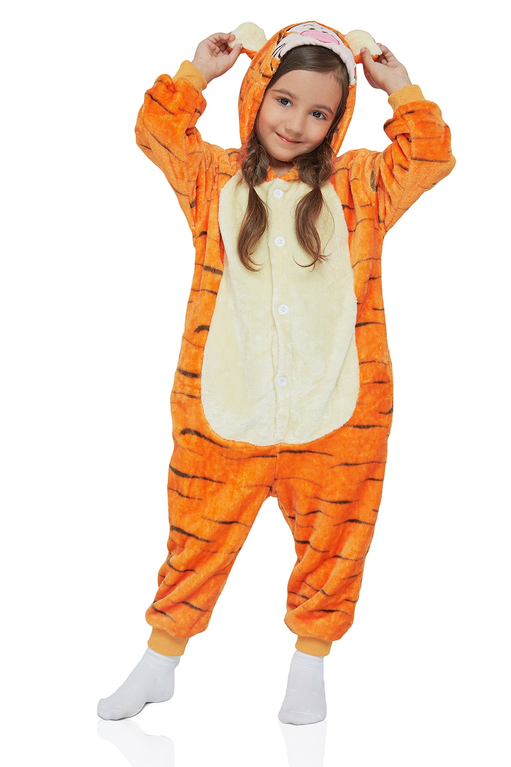 Kids Tiger Kigurumi Animal Onesie Pajamas Plush Onsie One Piece Cosplay Costume (Large, Orange, Yellow)