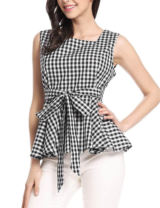 a51fa3865ad6e0 Zeagoo Women Sleeveless Top Plaid Peplum Convertible Tie-Belt Wear to Work  Tank at Amazon Women's Clothing store: