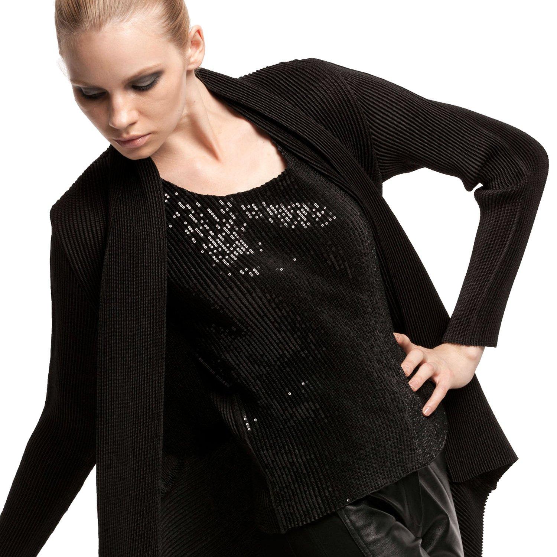 SPECCHIO PLEATS Women's Sparkling Sequined Sleeveless Top 0.1''size sequins Black