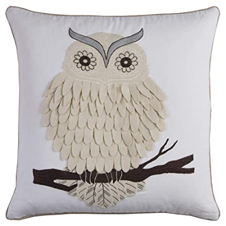 Rizzy Home T11675 Decorative Owl Down Filled Throw Pillow 20 x 20 White Beige