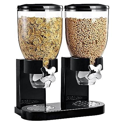 Asab - Doble dispensador de cereales, recipiente de almacenamiento de alimentos secos, para encimera
