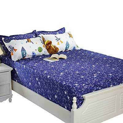 Brandream Boys Galaxy Space Bedding Kids Bedding Set Fitted Sheet 1-Piece Full Size: Home & Kitchen