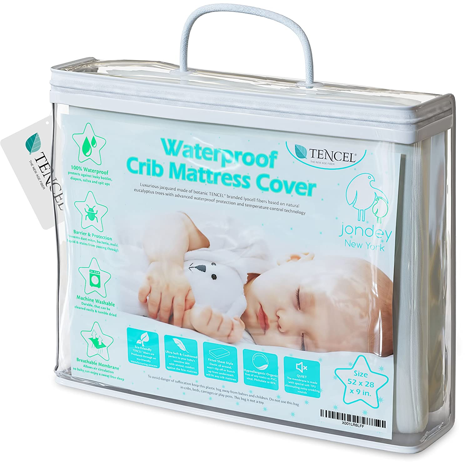 Organic TENCEL Crib Mattress Protector Pad Waterproof Breathable Hypoallergenic Jacquard Fitted Soft Padded 52x28x9 Inch for Baby Toddler Infant Bed Flannel White Cover Topper S. T. For Jondey INC