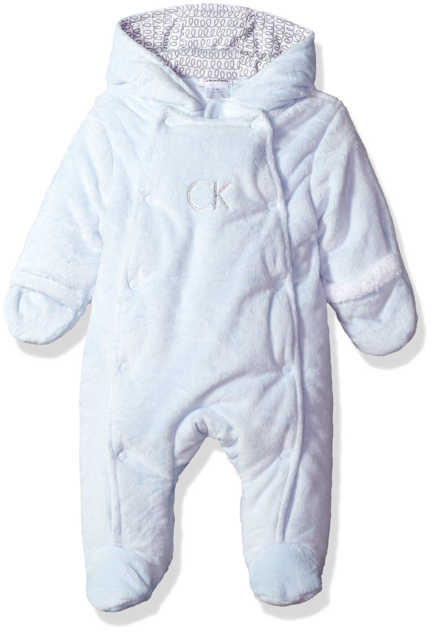 Calvin Klein Baby Boys' Silky Sherpa Pram, Blue, 6-9 Months