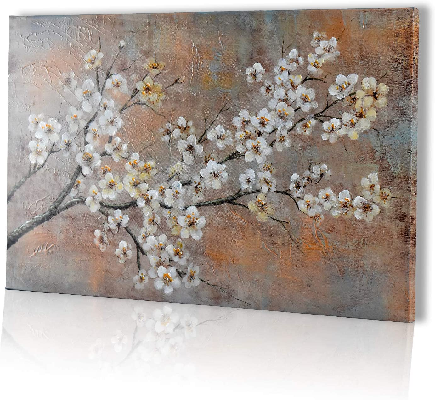 Mozing Wall art Oil Paintings 100/% Hand Painted Art Plum Blossom On Canvas Modern 3D Artwork Decorative Pictures For Home Living Room Bedroom Office(15.7x23.6Inchx3pcs)