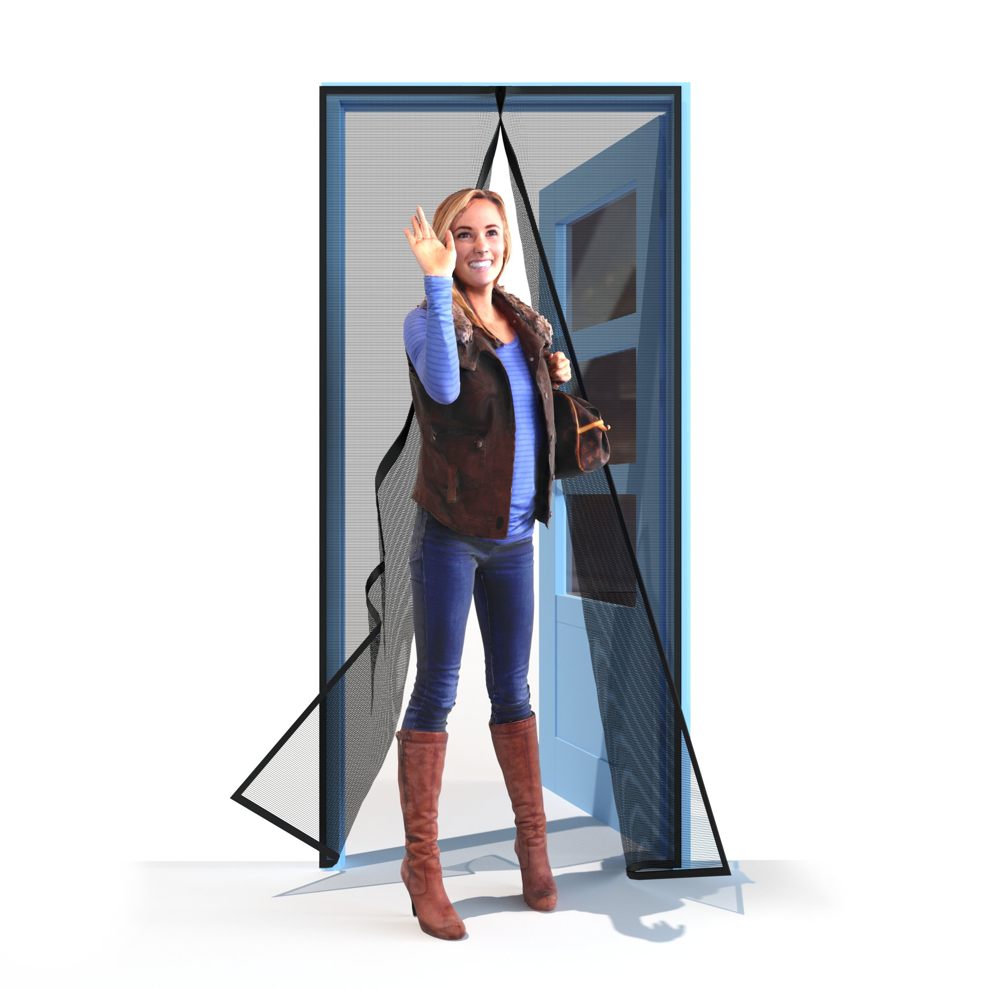 Home Diamonds Ultra Heavy Duty Fiberglass Magnetic Mesh Screen Door Full Frame Velcro, 28 Strong Magnets, Fit Doors up to 34 x 81-inches by Home Diamonds (Image #5)