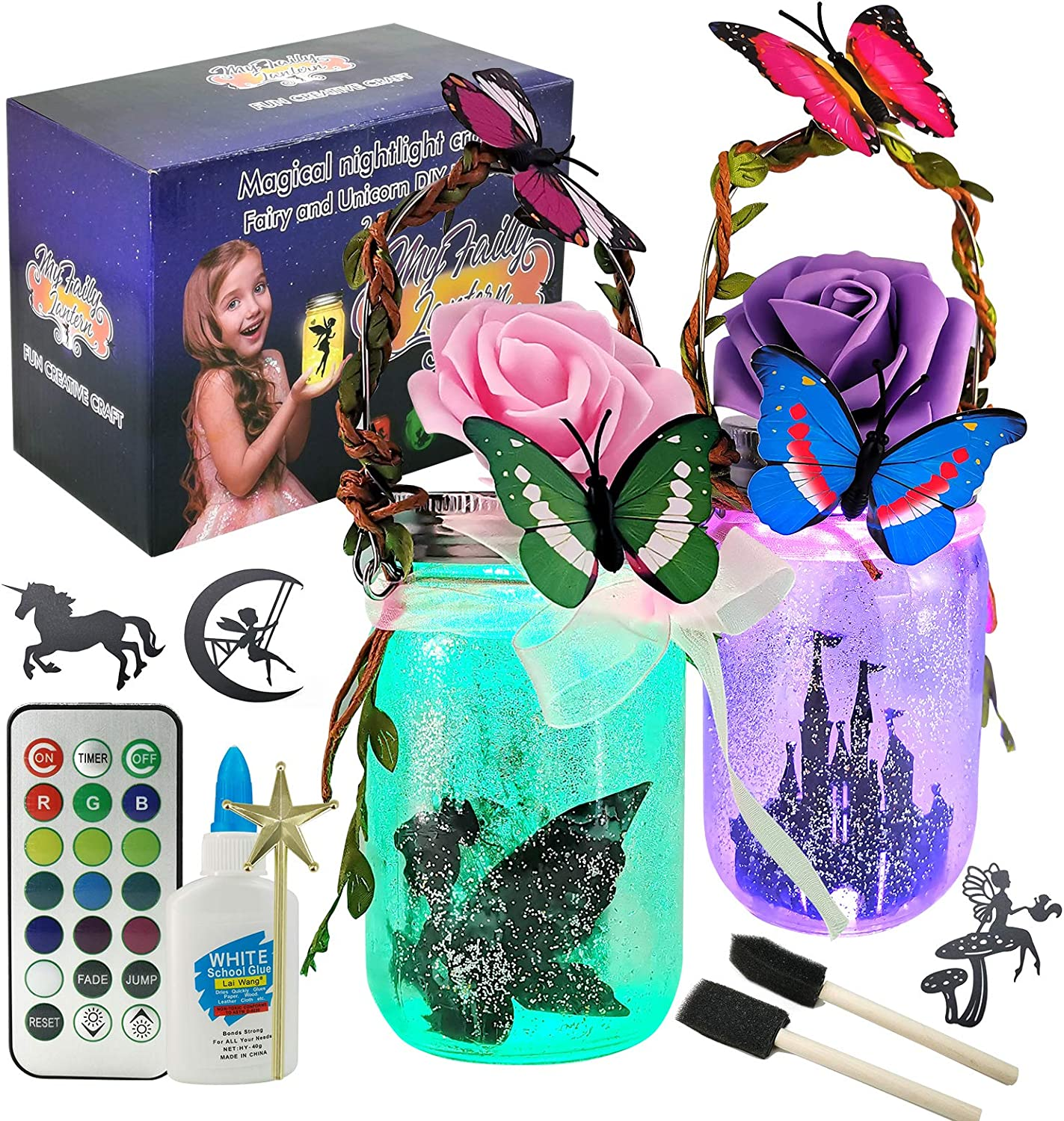 Fairy Lantern Craft Kit for Kids - DIY Make Your Own Fairy Lantern Jarfor Girls Age 6 7 8 9 10 Year Old, Dream LED Light 8 Colors Adjustable Yard, and Garden Decor Art Project