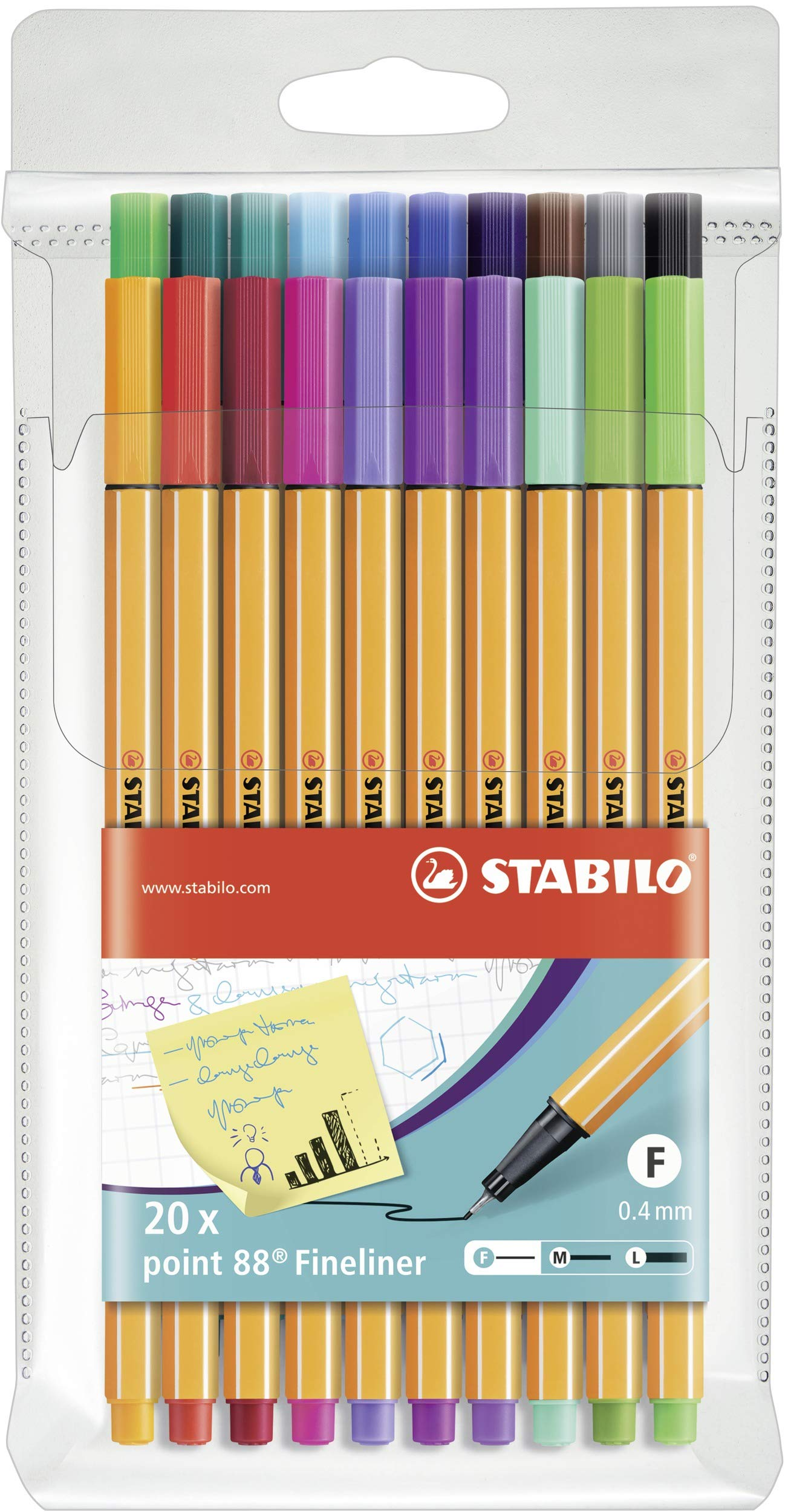 STABILO AZN8820-3 Point 88 Fineliner Wallet of 20 Assorted Colours