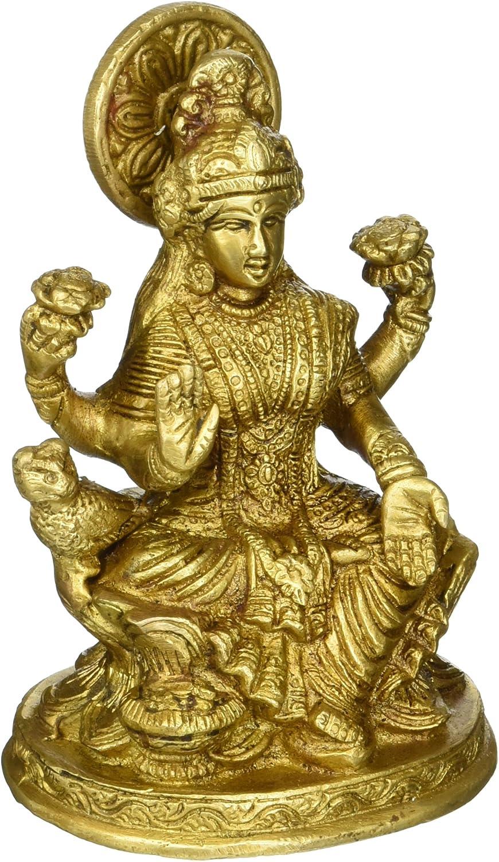 Cultural HubJ92-600-0030 Vintage Handmade/Handcrafted Religious Gift Solid Brass Statues/Sculptures of Hindu Goddess Lakshmi Home Decor Antique Artifact