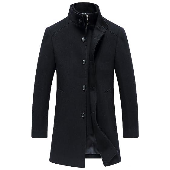 SUNNY SHOP Mens Long Wool Winter Coats Trench Coat Men Long Wool ...