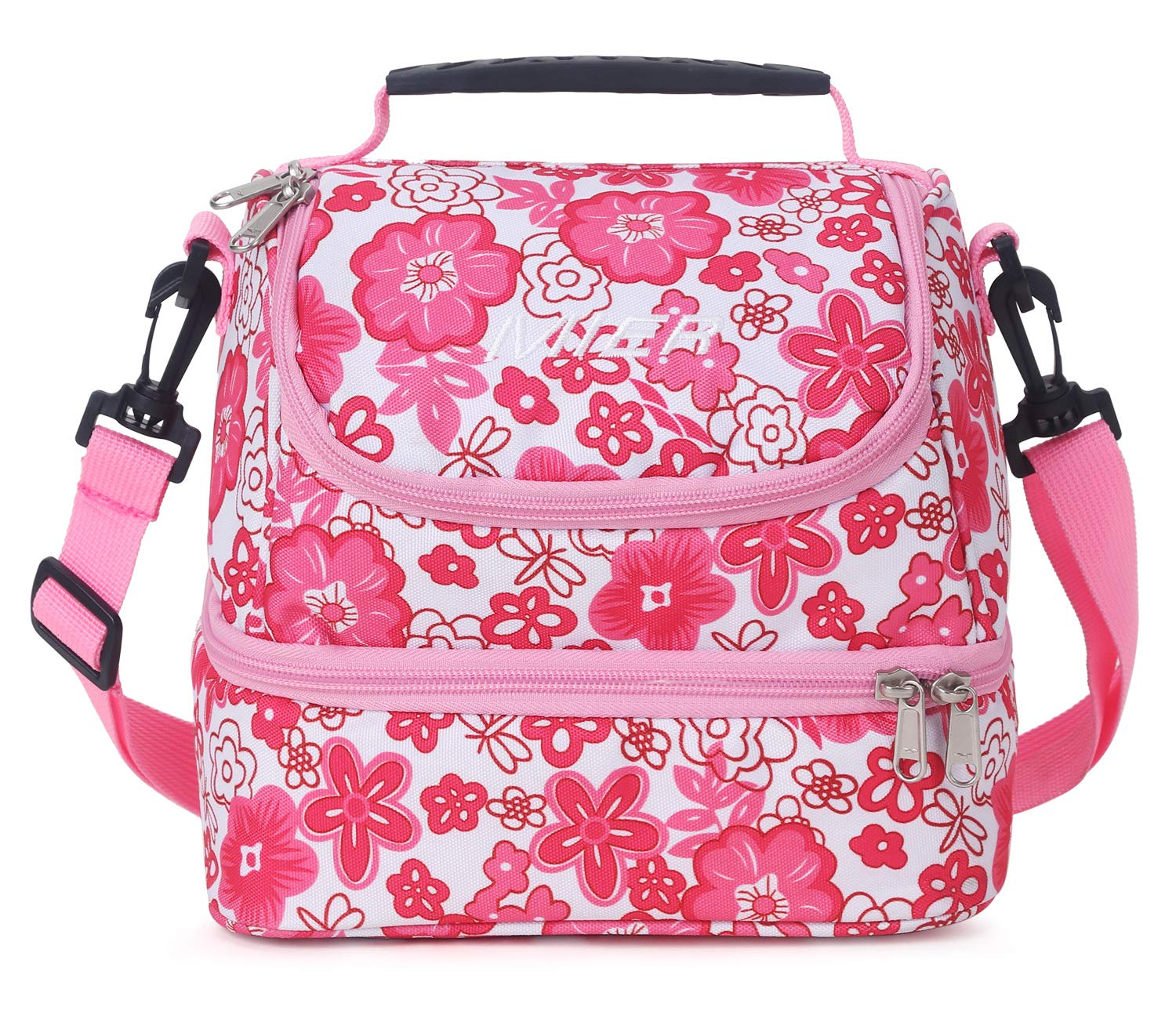 MIER Double Decker Insulated Lunch Box Pink Soft Cooler Bag Thermal Lunch Tote with Shoulder Strap (Pink Flower) by MIER