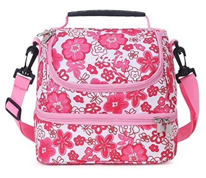 5320868358ddf5 Amazon.com: MIER Double Decker Insulated Lunch Box Pink Soft Cooler ...