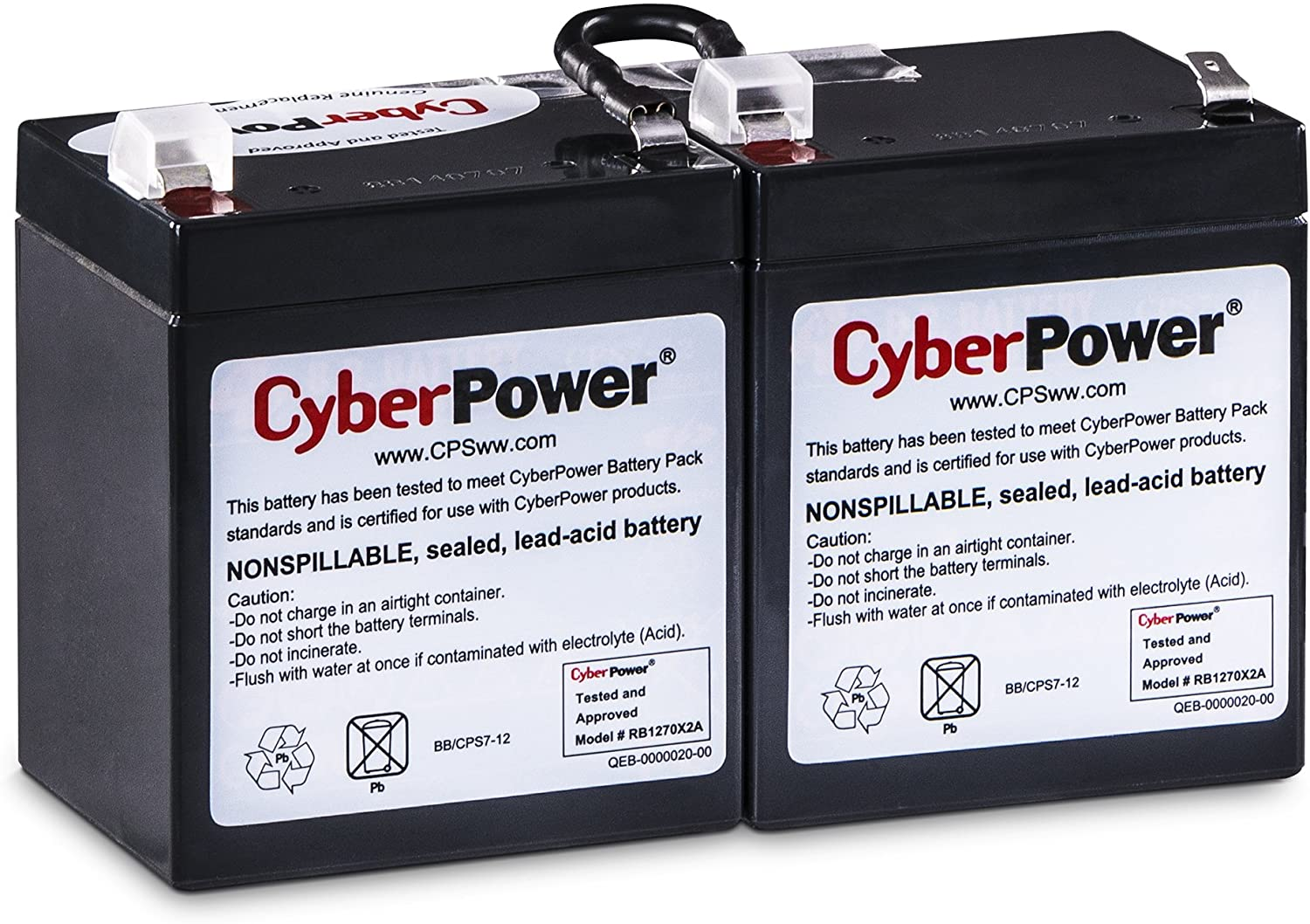 User Installable Maintenance-Free CyberPower RB1270X2A Replacement Battery Cartridge