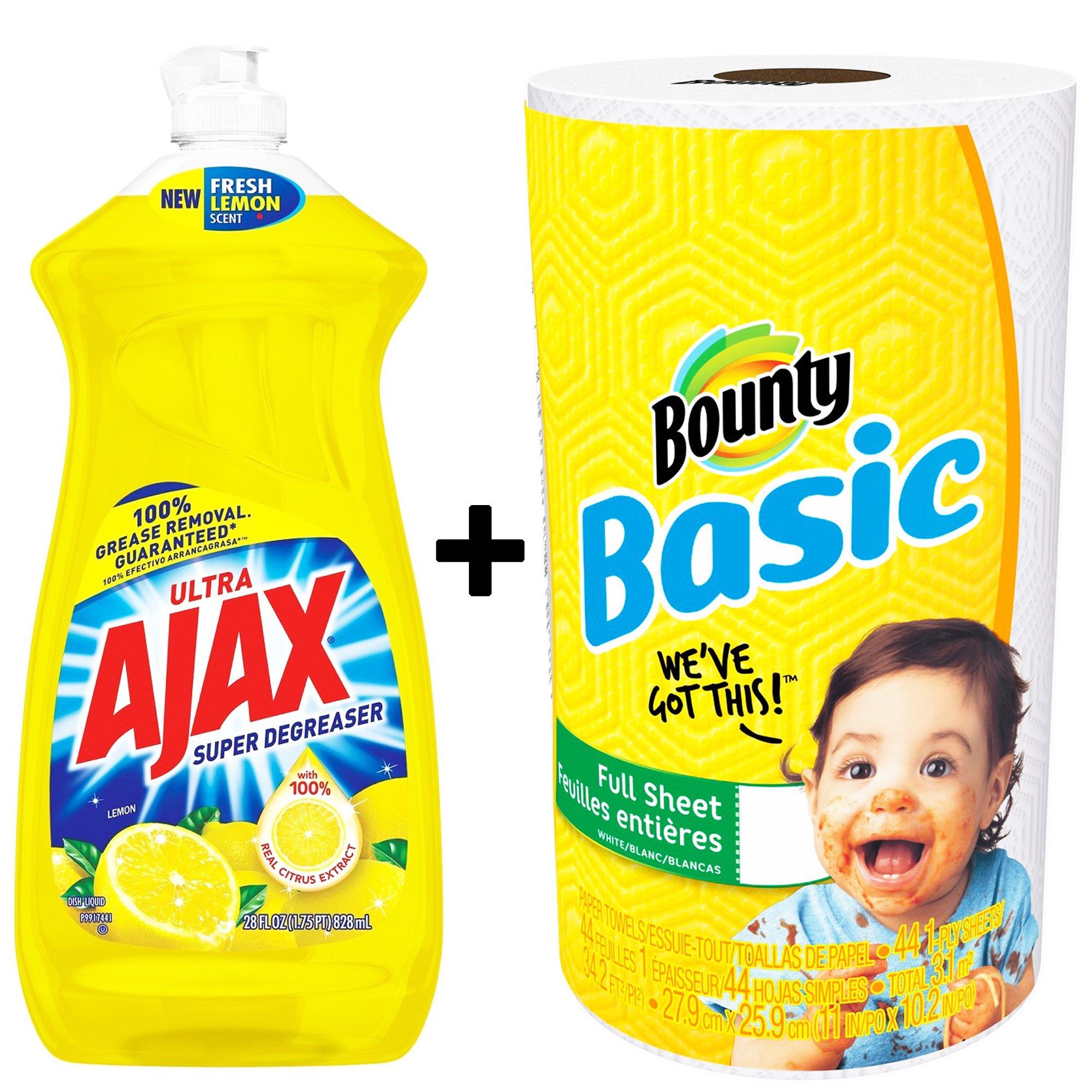 Ajax Dishwashing Liquid Dish Soap 28 Ounce - Lemon, Super Degreaser and Bounty Paper Towel 1 Roll Bundle