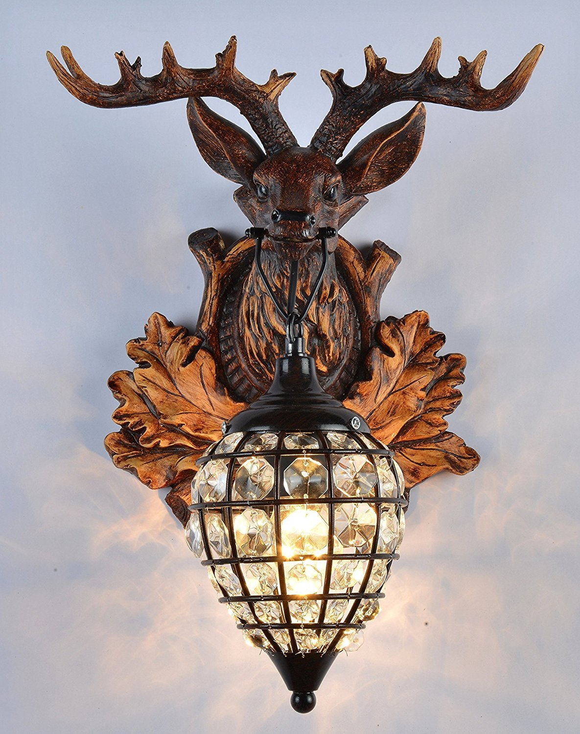 EFFORTINC Deer heads Antlers vintage style resin wall lamp 1 Light, Rural countryside antler wall lamp,Living room,Bar,Cafe