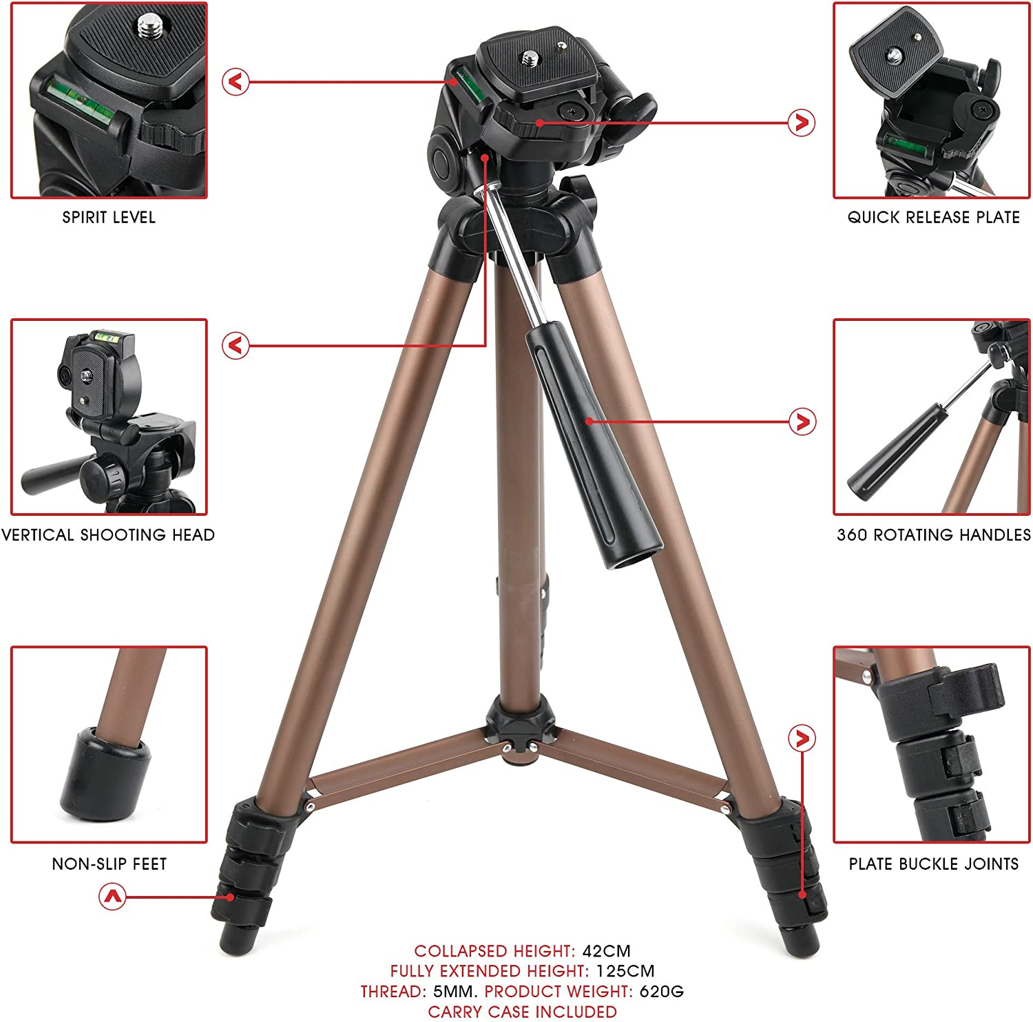 Compatible with Canon EOS M6 Mark II Black Canon EOS RP Cameras DURAGADGET Lightweight 1m Extendable Portable Tripod with Screw Mount