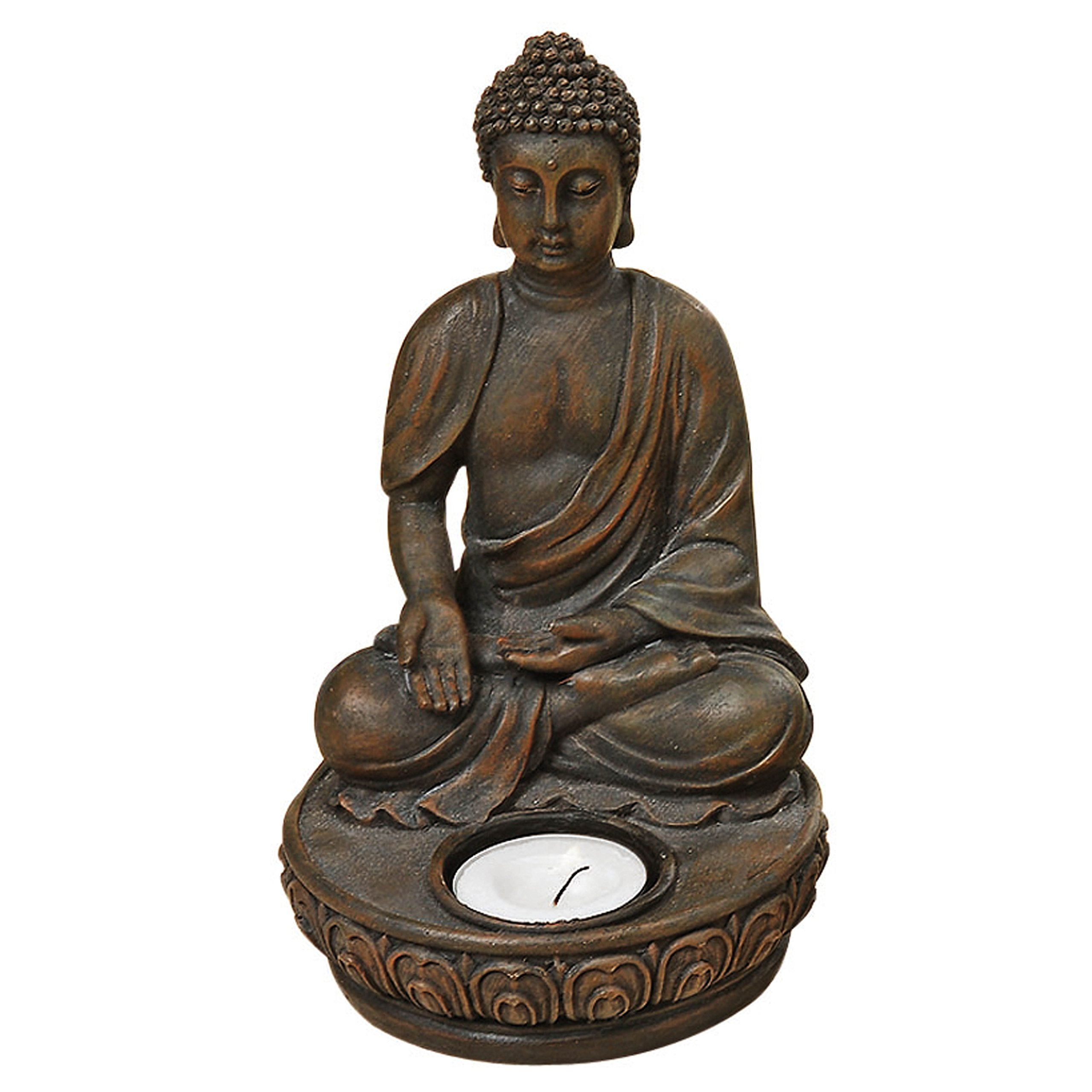 "Whole House Worlds The Seated Buddha Tealight Candle Holder, Welcome and Compassion Varada Mudra Pose, 7 ½ H x 4 3/8"", Hand Crafted Cast Polyresin, Bronze, From the Serenity Collection By"