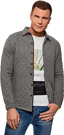 oodji Ultra Hombre Camisa-Chaqueta de Punto de Tejido Texturizado: Amazon.es: Ropa y accesorios