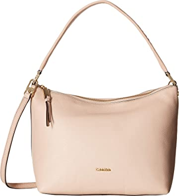 9958a31c4d Amazon.com  Calvin Klein Women s Angelina Pebble Hobo Dessert Taupe One  Size  Shoes
