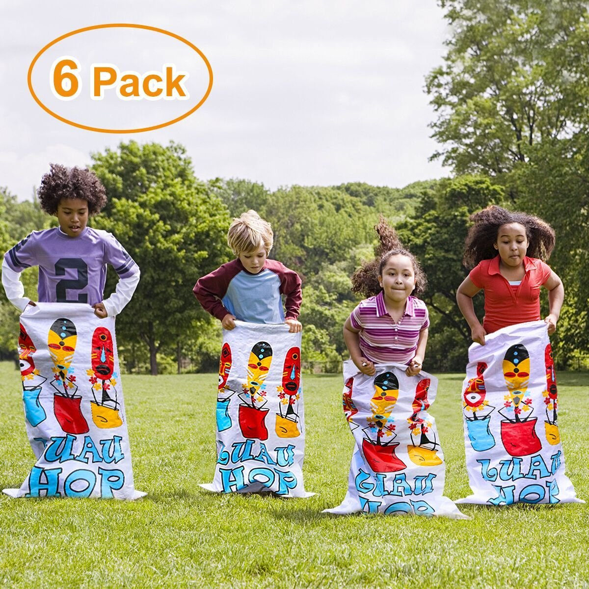 iBaseToy Potato Sack Race Bags 24''x41'' (6 PCS) - Luau Hop Party Game Birthday Party Games