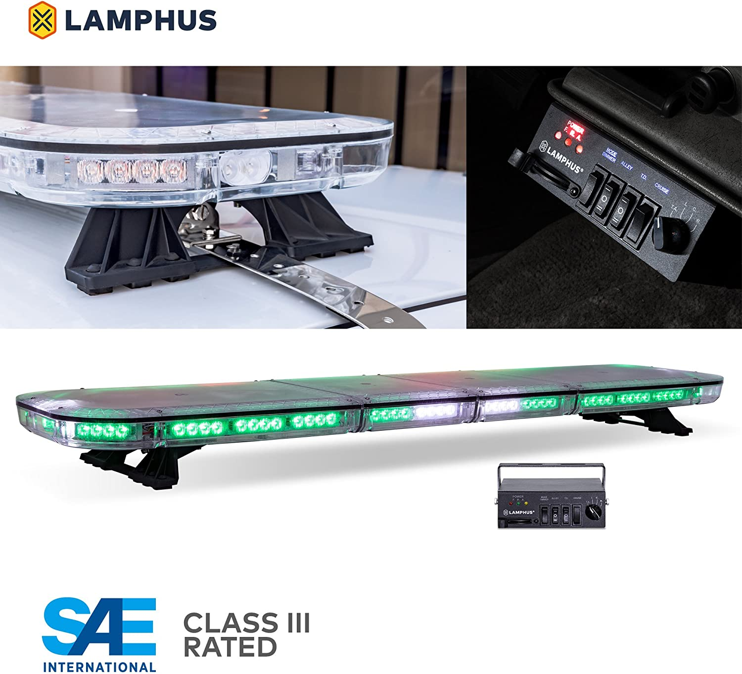 Blue Red Rooftop Strobe Warning Police Light Bar 58 Flash Mode Gutter Bracket LAMPHUS SolarBlast SBFB82 37 82W Blue RED LED Emergency Full-Size Light Bar Controller Box SAE J595 Class III