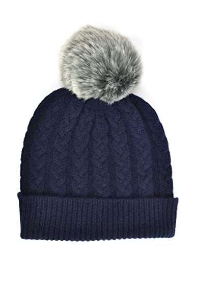 b7da6ac41d0 Image Unavailable. Image not available for. Color  Ladies Cashmere Cable Hat  in Navy with Grey Faux Fur Pom ...