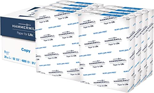 Hammermill 20lb Copy Paper, 8.5 x 11, 8 Ream Case, 4,000 Sheets, Made in USA, Sustainably Sourced from American Family Tree Farms, 92 Bright, Acid Free, Economical Multipurpose Printer Paper, 113640C