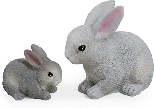 Mama Baby Bunnies Rabbits Easter Decorations Spring Decor Handmade Hand Painted Vivid Gray Wax Battery Operated Flameless LED Candles Kid s Room Nursery Animal Night Lights Decorative Table Lamps