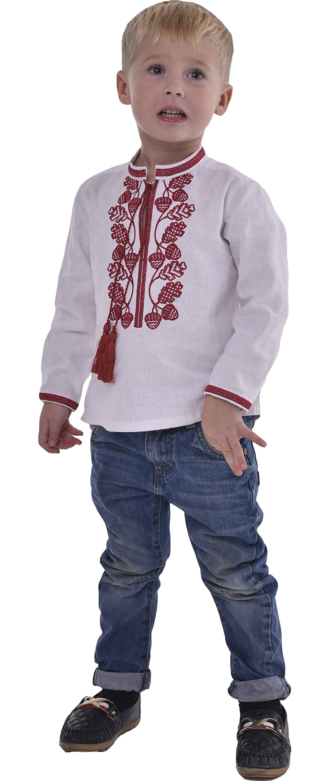 2kolyory Boys Shirts With Embroidery. Ukrainian Vyshyvanka. Children's Traditional Ukrainian Shirts With Collar For Boys. (5.5-6 Years)