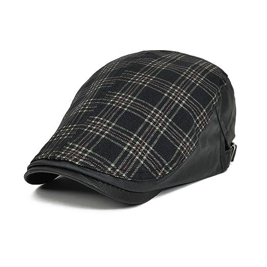 VOBOOM Men s Cotton Flat Cap Plaid Ivy Gatsby Newsboy Cabbie Driving Hat  Cap 026 (Black 9dcd92b8b2af