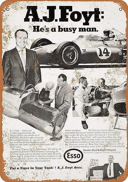 Shunry AJ Foyt Esso Gasoline Placa Cartel Vintage Estaño ...
