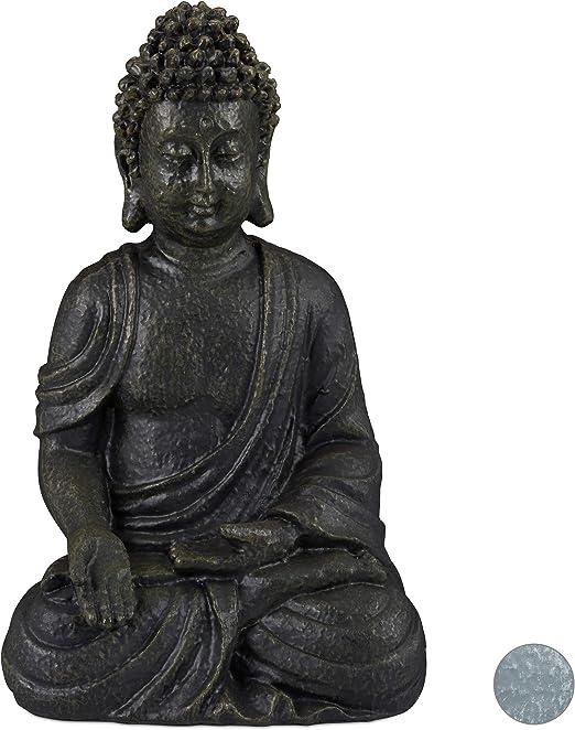 Relaxdays, Gris Oscuro, Estatua Buda Sentado para Jardín o Salón, Resina Sintética, 30 cm: Amazon.es: Jardín