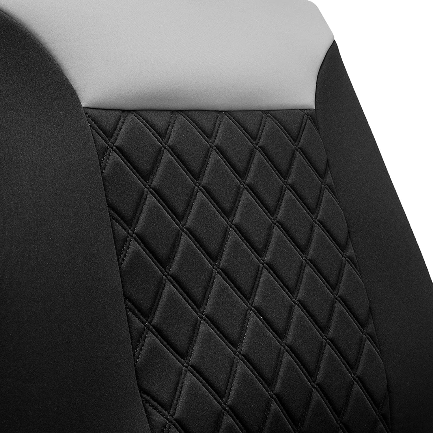 Water Resistant FH Group FB089GRAYBLACK102 Neosupreme Car Seat Cushion Set of Two Front Bucket Covers Quality Gray//Black Easy Installation Non-Slip Backing
