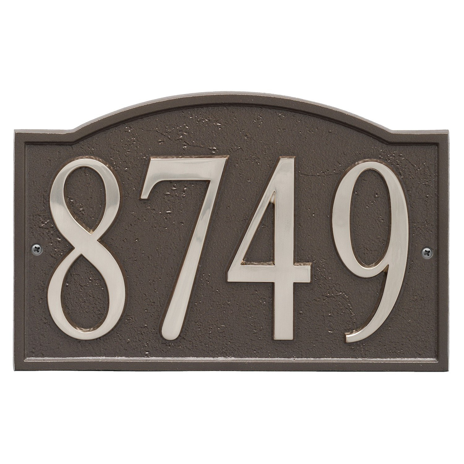 ART & ARTIFACT by Whitehall Personalized Cast Metal Address Plaque - 11'' x 7.25'' Custom House Number Sign - Arched Rectangle with DIY Self-Adhesive Zinc Numerals - Bronze/Silver