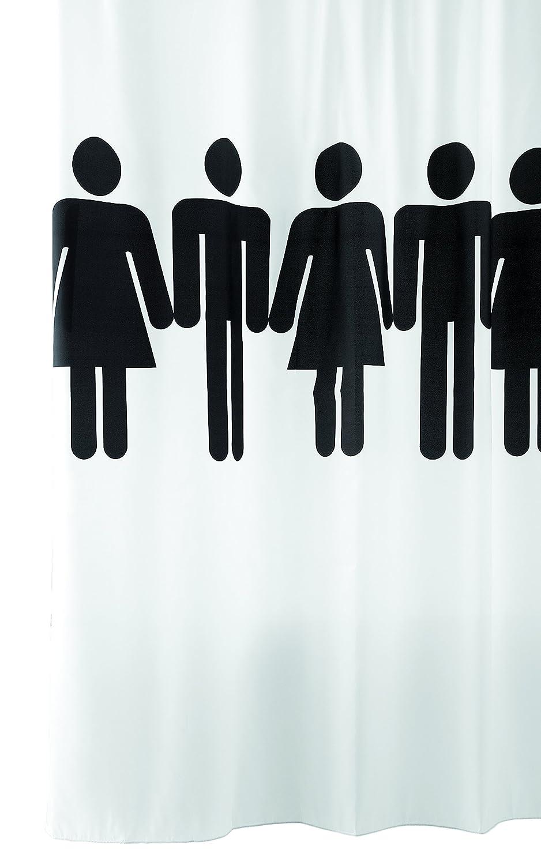 Tenda da doccia tessuto 180x200 cm con anelli OMINI, tenda per la vasca lavabile in bianco con un simbolo nero WC Uomo