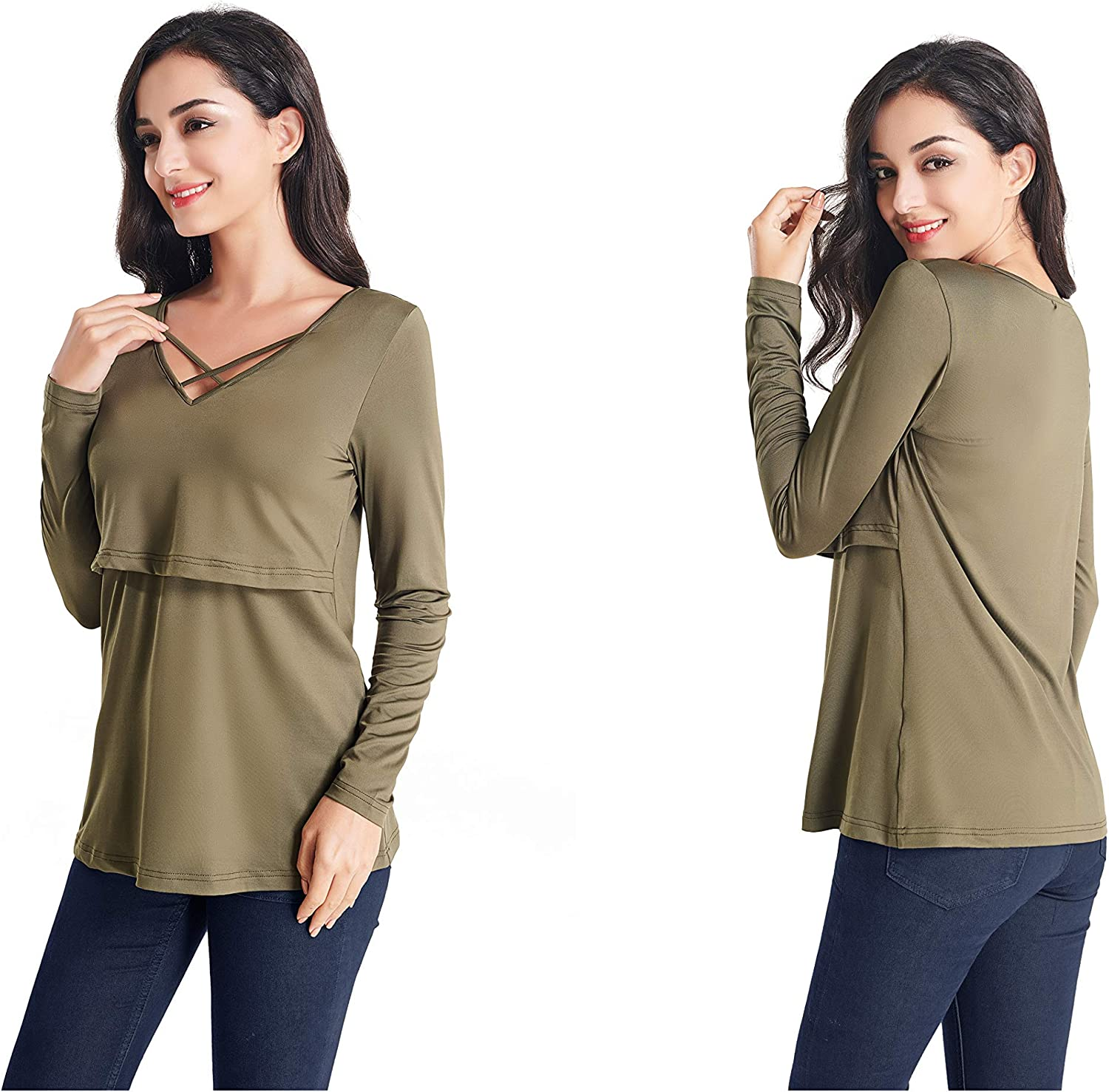 Womens Maternity Nursing Tops Long Sleeve Breastfeeding T-Shirt Comfy Sweaters V-Neck