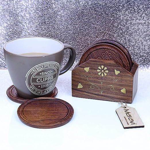 Compra 6 Portavasos de madera talladas a mano & Latón ...