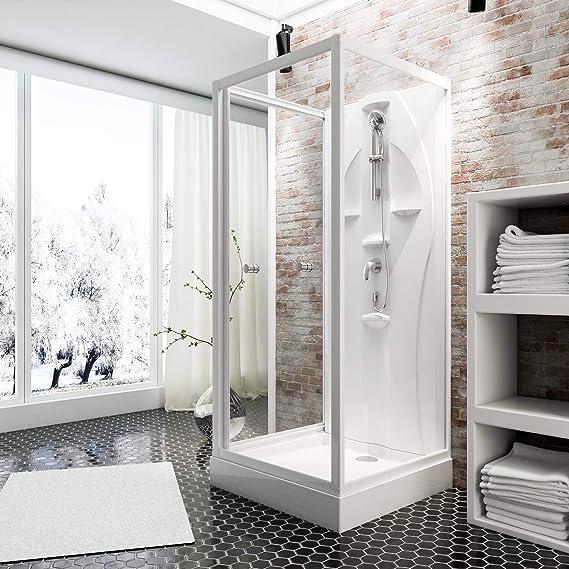 Schulte mampara de ducha completa Siena, cabina de ducha integral, cristal de seguridad transparente, profilés blancos ALPIN, 90 x 90 x 210 cm: Amazon.es: Bricolaje y herramientas