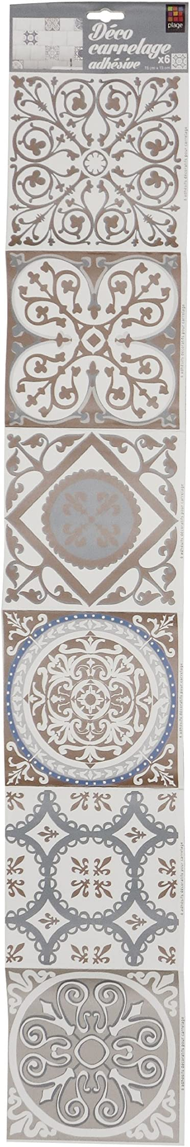 Plage 260540/Autocollants souples imitation 1 planche de 6 D/écos carrelage adh/ésives Vinyle 15/x 0,1/x 15/cm Beige