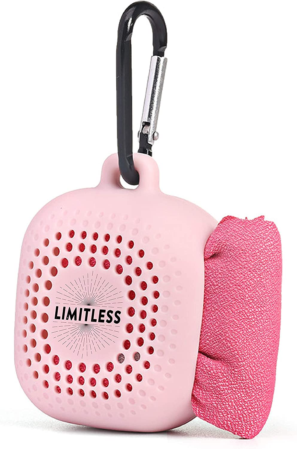 LIMITLESS Travel Towel with Silicone Travel Case-Free Bonus BPA Free Silicone Straw  Fast Drying Absorbent Microfiber Towel for Backpacking  Hiking  Camping  Fitness Gym  Yoga  Sports  Pink Flamingo