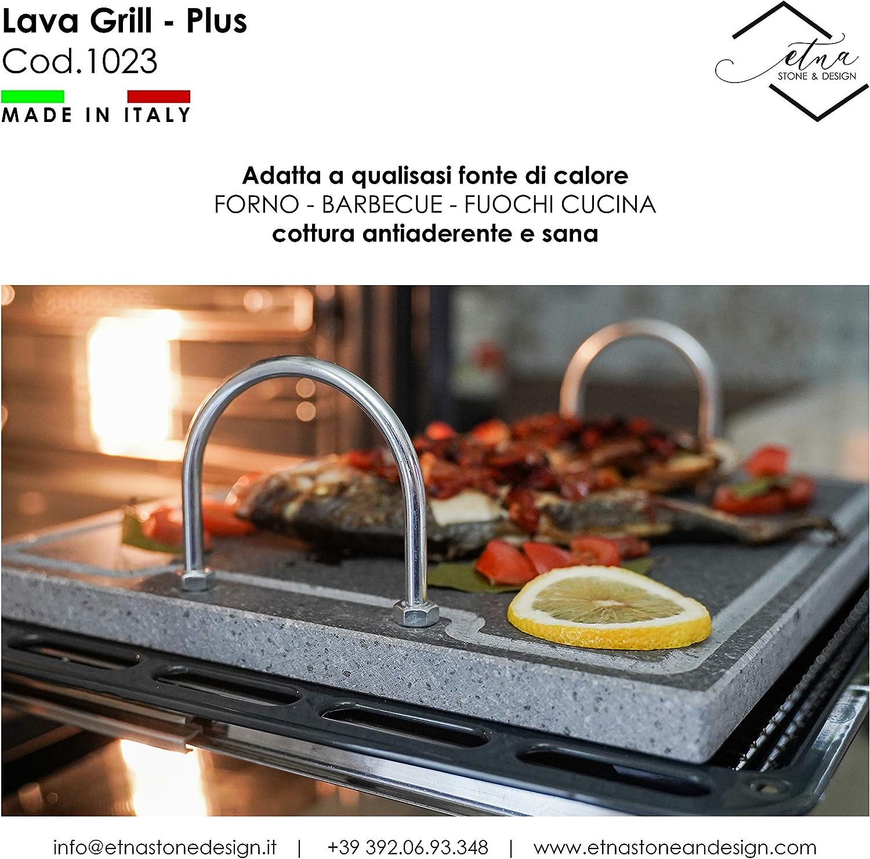 pescado Etna Stone /& Design Lava Grill Plus 40 x 30 cm parrilla con asas piedra volc/ánica etnea placa lijada para horno y barbacoa cocci/ón carne verduras y pizza