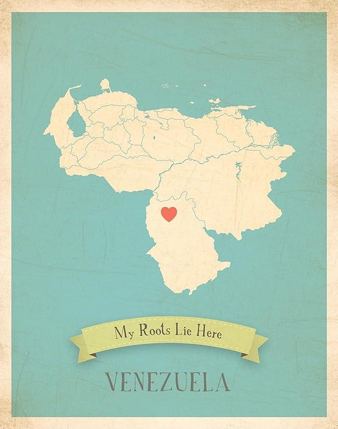 Mapa de pared, mi raíces Venezuela personalizado pared mapa 11 x 14, Kid s Venezuela mapa pared arte, decoración de la pared arte impresión, guardería, guardería infantil pared arte: Amazon.es: Hogar