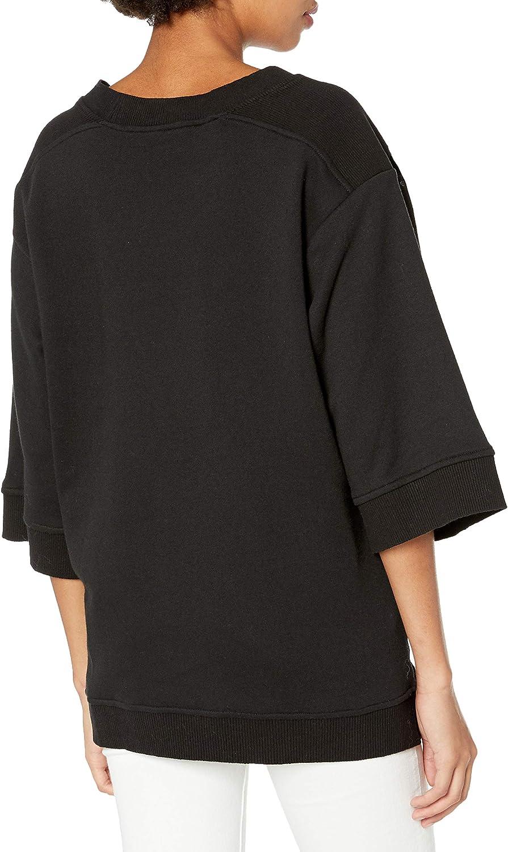 BCBGMAXAZRIA Damen Embroidered French Terry Sweatshirt Pullover Schwarz/Combo