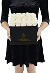 The Roses can Last 1year (25 Piece, Premium White Roses with Matte Black Box)
