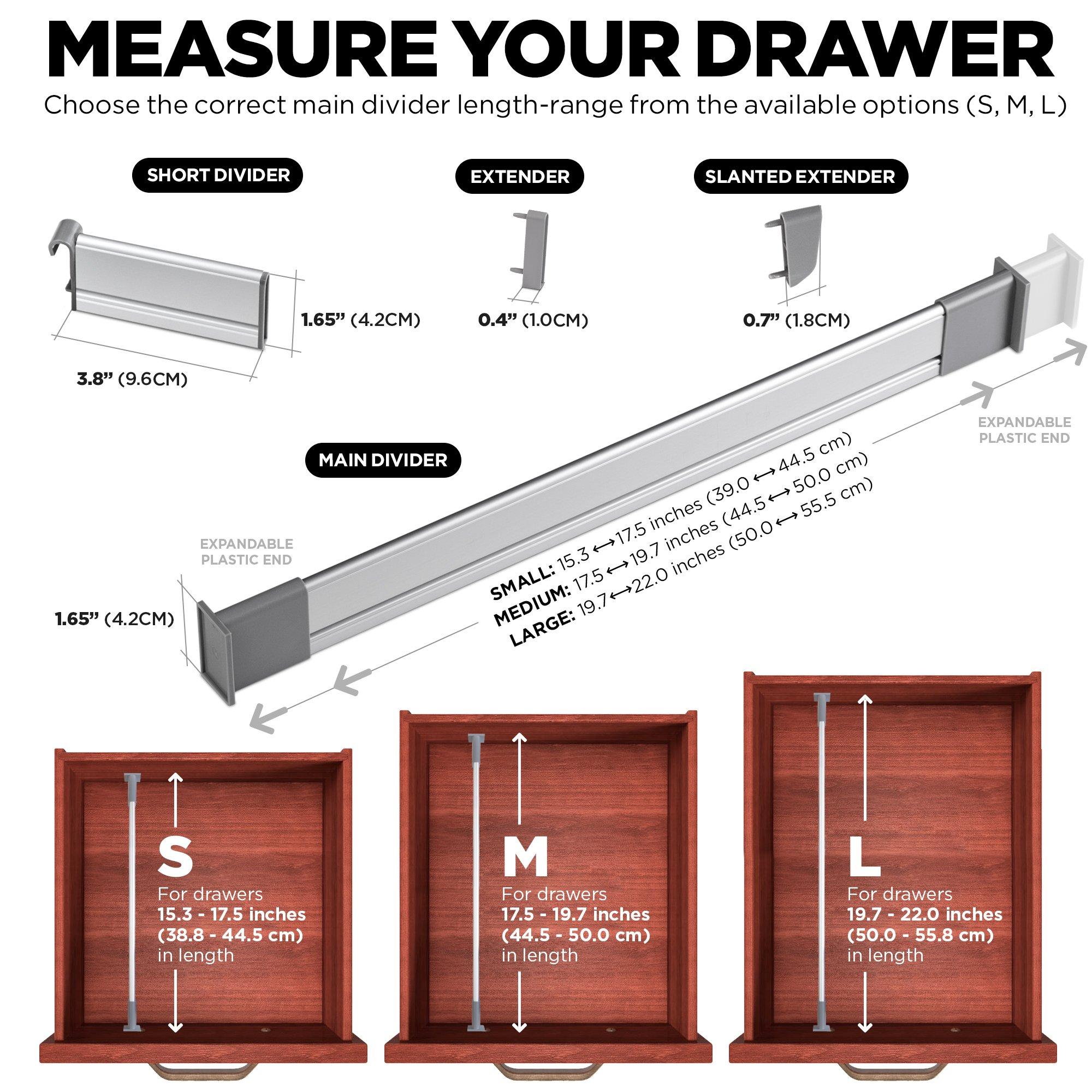 Customizable, Practical Comfort Adjustable Drawer OrganizerElegant Aluminum